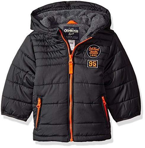 Osh Kosh Boys' Infant Classic Heavyweight Solid Puffer Coat, Grey, 18 Months