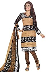 Aradhya Women's Brown Cotton Dress Material