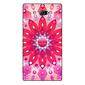 EYP Red Flower Pattern Back Cover Case for Sony Xperia M2 Dual