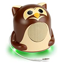 GOgroove Groove Pal Jr. Owl Portable Kids Light-Up Speaker with Impressive Dynamic Audio Driver and Enhaced Bass Woofer for 3.5mm Connection to Smartphones , Tablets , MP3 Players & More!