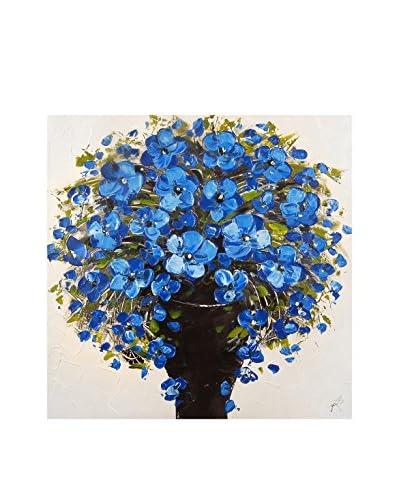 Arte dal Mondo muurschildering Paolo Rossini Dipinto Vaso Fiori Blu