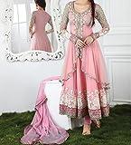Starword Beautiful Heavy Trendz Pink Semi stiched Dress Material High Qualitty