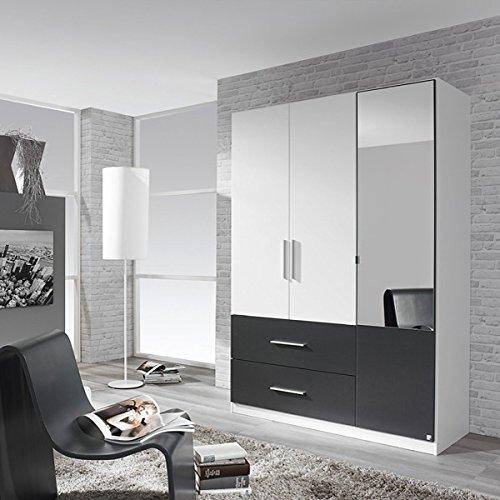 Kleiderschrank weiß / grau 3 Türen B 136 cm Schrank Drehtürenschrank Spiegelschrank Wäscheschrank Kinderzimmer Jugendzimmer online bestellen
