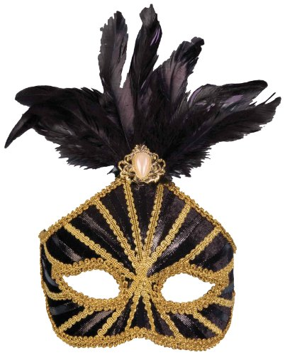 Forum Mardi Gras Trim High Half Mask With Feathers