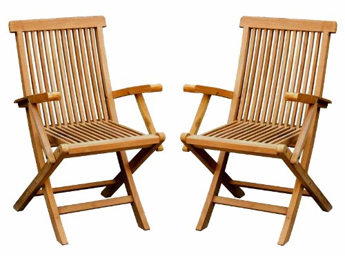 2 X SOLID WOODEN TEAK GARDEN OUTDOOR FOLDING ARM CHAIRS