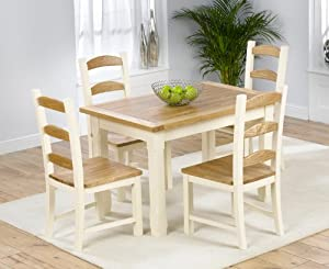 Country painted solid pine amp ash furniture small dining table and 4
