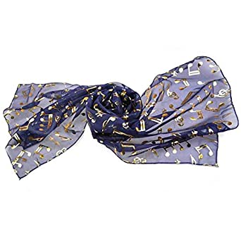 Women/Lady Retro Music Note Foil Scarves for Choir Fashion Chorus (Navy)