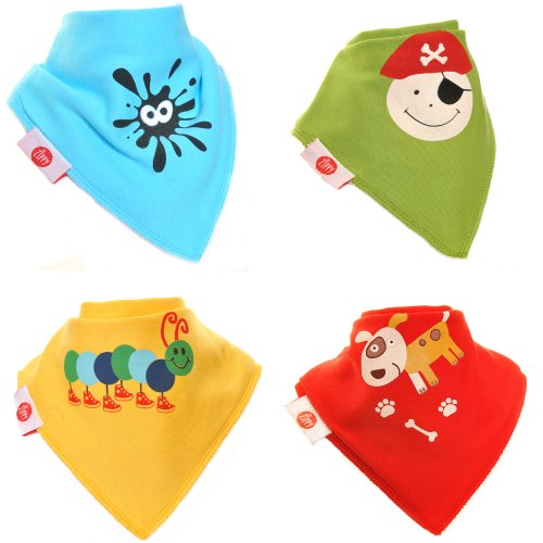 Zippy Fun Baby and Toddler Bandana Bib - Absorbent 100% Cotton Front Drool Bibs with Adjustable Snaps (4 Pack Gift Set) Unisex Fun Characters