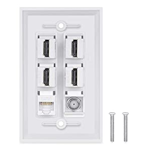 4 HDMI Keystone Wall Plate,PHIZLI 1 - Cat6 Ethernet 1 - Coax Cable TV F Type Port HDMI 2.0 Decorative Female to Female(White) (Tamaño: 4hdmi-cat6-coax)