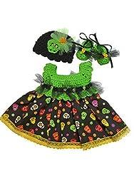 MiC Crafts Baby Girl 3 Piece Halloween Set Skeleton Green and Black Preemie
