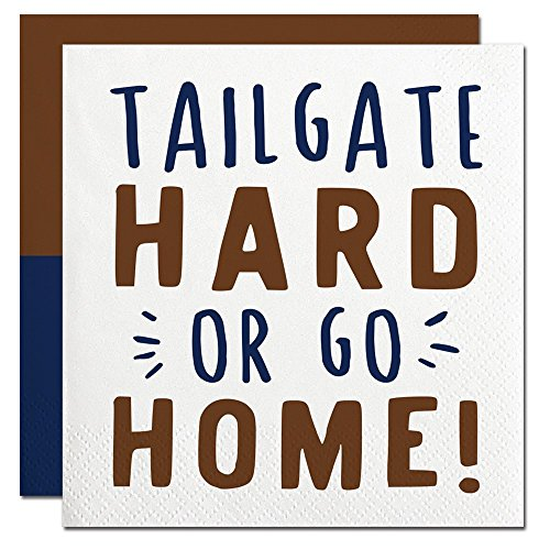 Slant Collections Football Tailgate Hard or Go Home Paper Beverage Napkins (Football Beverage Napkins compare prices)