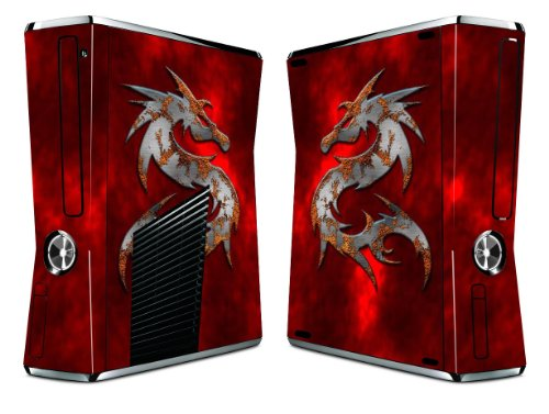 Bundle Monster Vinyl Skin Sticker For Xbox 360 S Slim Game Console - Cover Protector Art Decal - Red Dragon