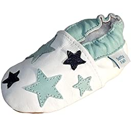 Dotty Fish Baby Boys Soft Leather Shoe with Suede Soles White Blue Stars Newborn to 18-24 Months