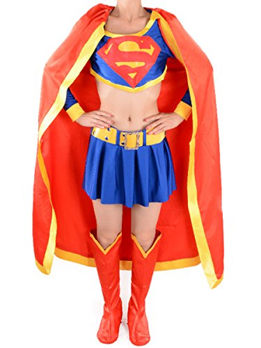 Halloween Tv Cosplay Superwoman Costume Adult Sexy Supergirl Cape