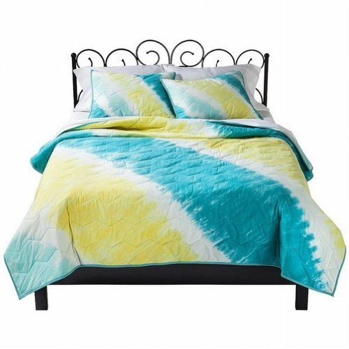 Xhilaration Twin Xl Bed Quilt Blue Yellow Tie Dye Bed Cover front-458878