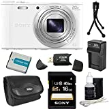 Sony DSC-WX350/W DSC-WX350 WX350 WX350W WX350/W DSCWX350W 18 MP Digital Camera with 20x Optical Image Stabilized Zoom and 3-Inch LCD (White) 16GB Bundle with 16GB SDHC Card, Spare Battery, Rapid External Charger, Case, SD Card Reader + More