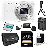 Sony DSC-WX300/W DSC-WX300 WX300 WX300W WX300/W DSCWX300W 18 MP Digital Camera with 20x Optical Image Stabilized Zoom and 3-Inch LCD (White) 32GB Bundle with 32GB SDHC Card, Spare Battery, Rapid External Charger, Case, SD Card Reader + More