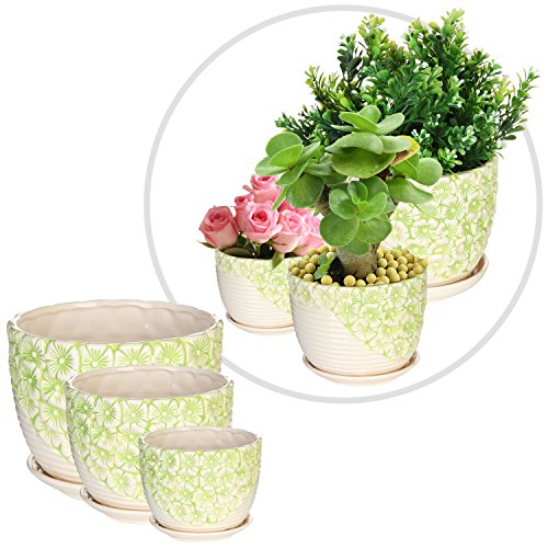 set-of-3-green-white-flower-design-nesting-ceramic-planter-pots-plant-containers-w-attached-saucers