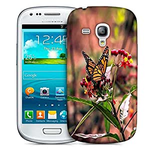 Snoogg Butterfly Sitting In Red Flower Printed Protective Phone Back Case Cover For Samsung S3 Mini / S III Mini