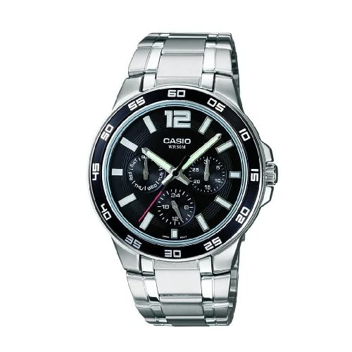 Casio MTP-1300D-1AVER Men's Quartz Watch with Black Dial analogue Display and Silver Stainless Steel Bracelet