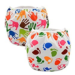 Alva Baby 2pcs Pack Big One Size Reuseable Washable Swim Diapers ZSW-YA135136