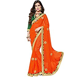 Vasu Saree Intricate Orange Georgette Designer Saree