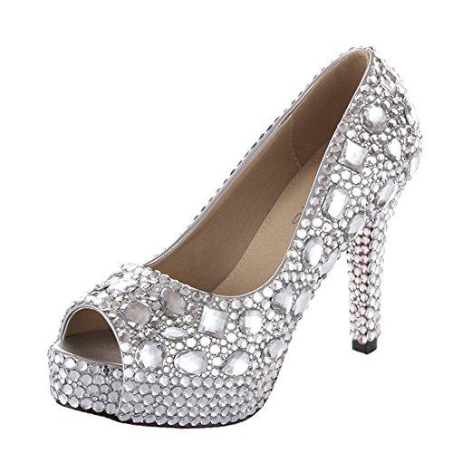 "Velcans Studded Rhinestone Womens Peep Toe Platform Wedding,Party,Prom High Heel Pumps Of High Heel:4.5"" (9 B(M) Us, Silver)"