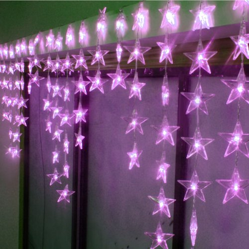 Fuloon 8 Modes 4M X 0.7M (13.1 Ft*2.3Ft) 90Pcs Led Xmas Pentagram Wave Shape Led String Fairy Light Decorative Curtain Lighting For Garden Party Wedding Festival 110V (Purple)