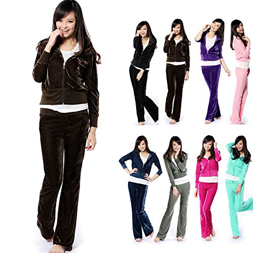 FUNOC New Casual Womens Velour Hoodies Pants Sports Tracksuit Ladies Fit Size Set