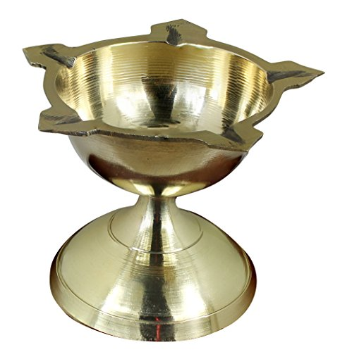 Handmade Indian Puja Brass Oil Lamp - Diya Wick Lamp Night Light Lantern -Dia 2.5 Inch