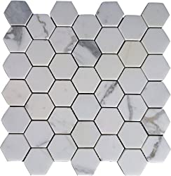 Calacatta Hexagon Mosaic Tile (BOX OF 10SF)