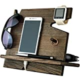 Wooden Cell Phone Stand. Nightstand Multiple Charging Dock Watches Holder. Wood Valet Key Tray Organizer. Mens Desk Docking Station. Smart Watch Mobile Devices Base. Bed Side Storage Caddy Men Gifts (Color: Ash-Tree dark 9