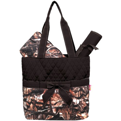 New Design Camo Quilted 3pcs Diaper Bag-brown