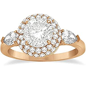 Pear Cut Side Stones and Diamond Halo Engagement Ring 18k R. Gold 0.75ct
