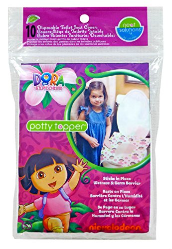 Neat Solutions Dora the Explorer Potty Topper Disposable Stick-in-Place Toilet Seat Covers, 10-Count - 1