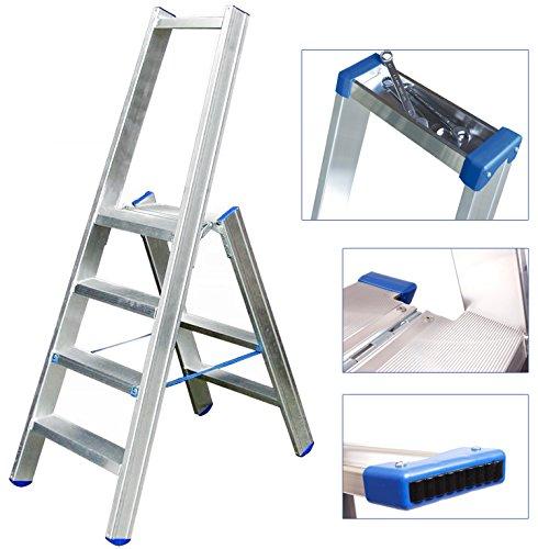 ERNST-Stufenstehleiter-einseitig-begehbar-4-Stufen-mit-Bgel-und-integrierter-Werkzeugablage-breite-Plattform-fr-sicheren-Stand-aus-Aluminium-gefertigt-rutschfest-und-besonders-robust-10-Jahre-Garantie