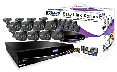 KGUARD SecurityInc. EL1621-8HW212B-1TB Easy Link Series 16 Channel QR Cloud 960H DVR with 8x 600TVL Cameras, 1TB HDD Home Security Surveillance Kit (Black)