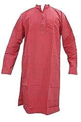 Indiatrendzs Men's Kurta Ethnic Wear Festive Red Striped Cotton Kurta