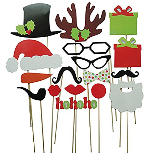 Leegoal 17Pcs DIY Photo Booth Props Mustache Lip Hat Antler Gift Stick Christmas Party