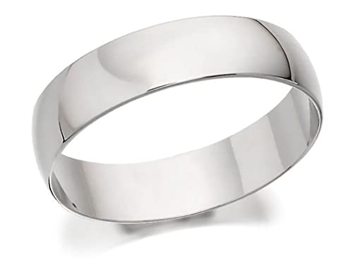 F.Hinds Mens Jewellery Jewelry 9ct White Gold D Shaped Grooms Wedding Ring - 5mm