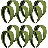 Olive 2 Inch Wide Leather Like Headband Solid Hair Band For Women And Girls - Set Of 12