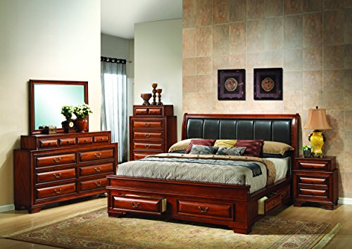 &#Glory Furniture G8850C KB3 Storage Bed King Cherry 6 boxes