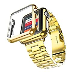 Apple Smart Watch Band + Gold Case, Hoco for Apple Watch 42mm Grand Series 2 Pointers Stainless Steel Metal Soft Watchband Plated Shell (Gold +Iwatch Case Gold)