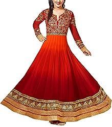 Qudrat Fashions Women's Georgette Unstitched Salwar Suit Material (heenaz01, Red)