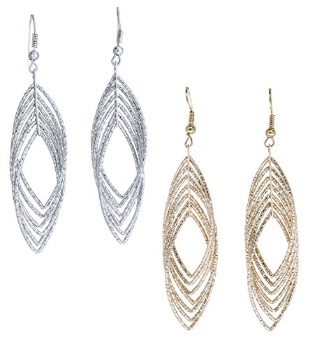 "Gold and Luster Women Jewelry Drop Dangle Earrings Set Diamond Cut Silver And Gold Plated 2 Pairs (Medium Dangle 2.9"")"