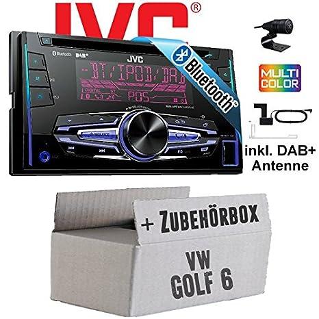 VW Golf 6 VI - JVC KW-DB92BT - 2DIN USB Bluetooth DAB+ Autoradio inkl. DAB+ Antenne - Einbauset
