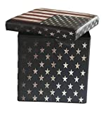 Fsobellaleo Faux Leather Folding Storage Ottoman with U.S.Flag Footrest Coffee Table 15'x15'x15
