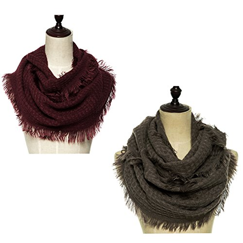 Lucky Leaf Women Warm Knit Winter Infinity Scarf Pack of 2 (Tassels Burgundy+Khaki) (Cowl Scarf compare prices)