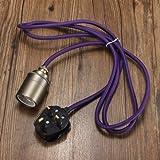 UK Plug E27/E26 2M Vintage Fabric Cable Pendant Light Filament Lamp Bulb Holder Socket-Purple