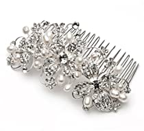 Big Sale USABride Bridal Side Comb with Rhinestone Flowers & Pearls 768